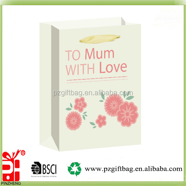 Alibaba China hot sale to mum with love gift packaging pape bag wholesale