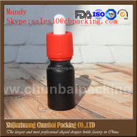 wholesale 10ml back glass bottle black frosted glass dropper bottle for e liquid 10 ml with red caps and packing tube