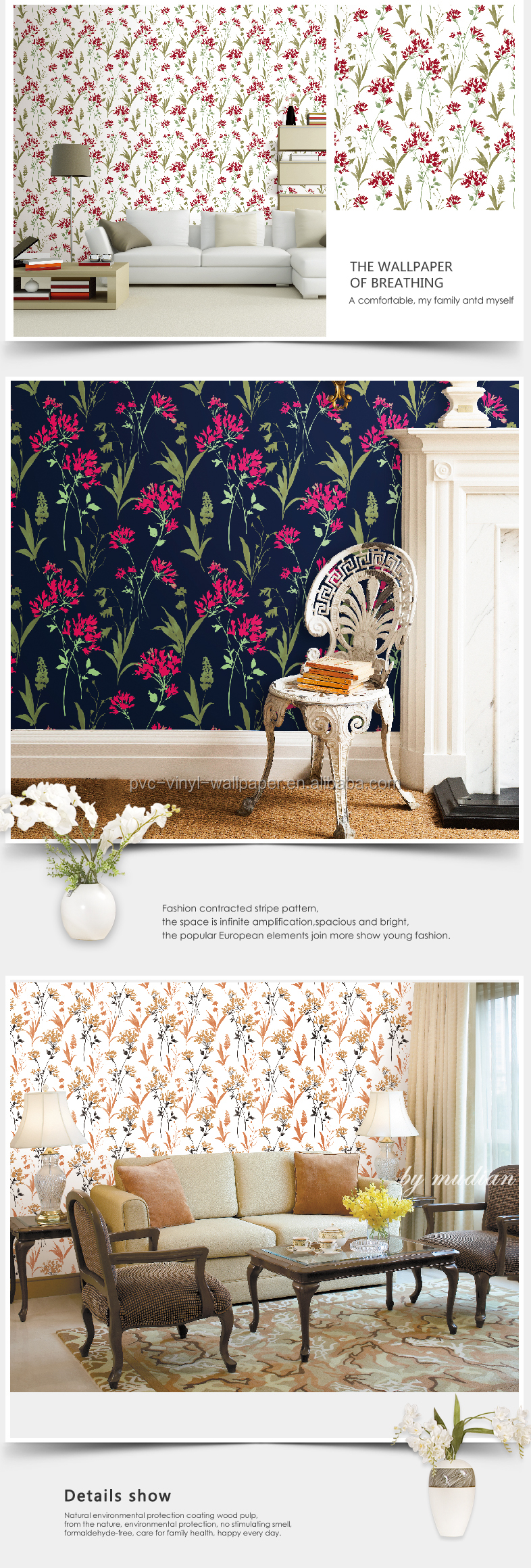LATEST VINYL 3D WALL BOARD WALLPAPER DESIGN