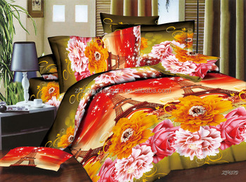 changxing polyester pigment print microfiber brushed bedsheet fabric