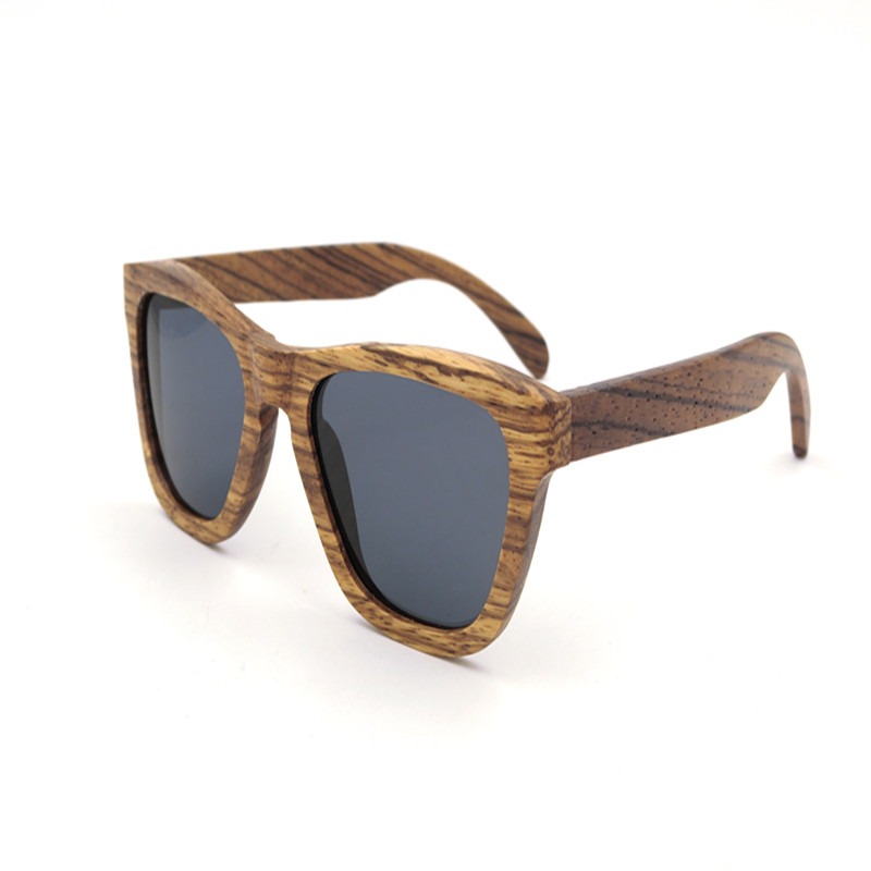 Rare Camel color zebra wood frame CAT 3 polarized sun glass mirror big lenses metal hinge sunglasses for male eyewear