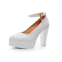 Women's Pumps With Ankle Strap Fashion High Heel Shoes Real Leather Platform Party Shoes in White Big SIze Wholesale