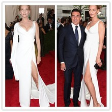 MGC26 Fashion Uma Thurman Met Gala 2015 One Sleeve Evening Celebrity Dresses