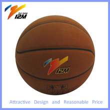Normal Size Custom Print Cowhide Leather Basketball Rubber Ball