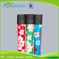 hot selling guangxi eucalyptus wooden pvc brush pole with plastic thread