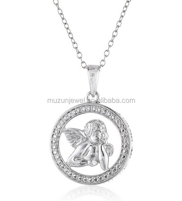 Believe in Miracles 925 sterling silver angel baby pendant necklace