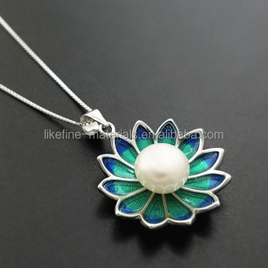 Cloisonne style 925 sterling silver lotus pearl pendants