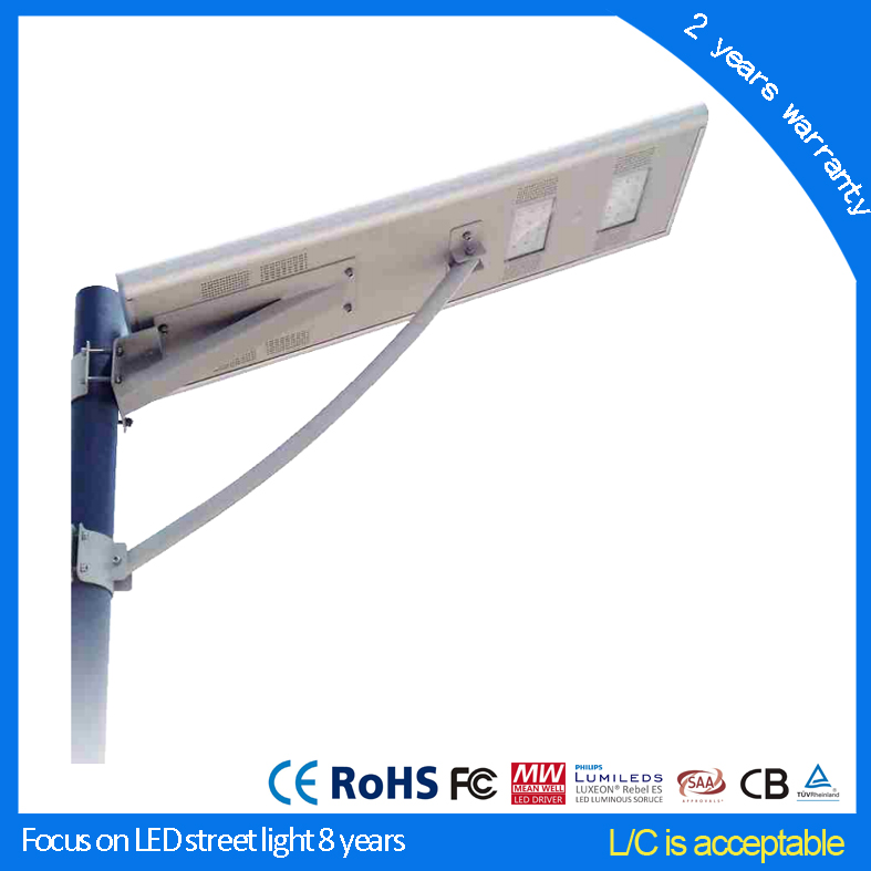 China manufacturer high power CE RoHS Certificate all in one led solar powered street lamp