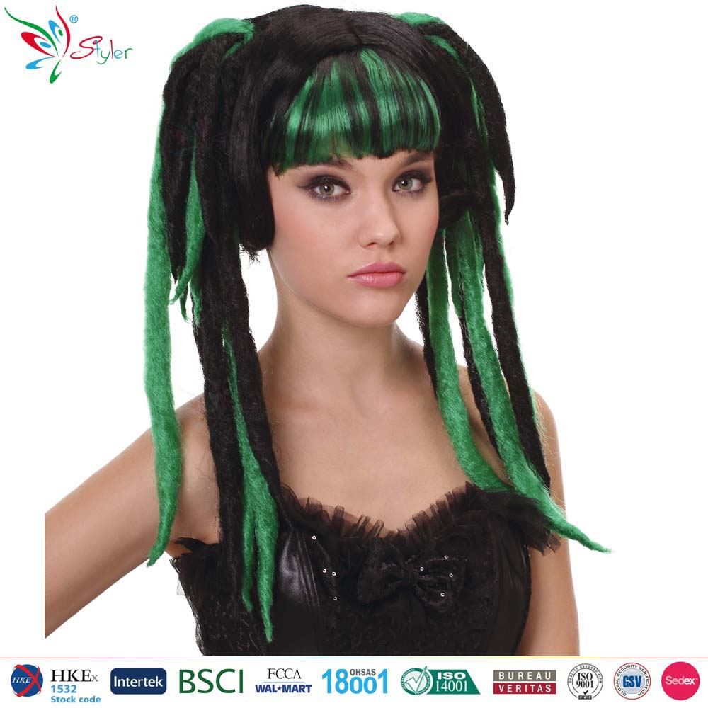 Styler Brand halloween party wigs two tone color full ponytail wig for anime girl