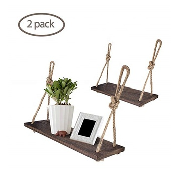 Wooden Floating Shelf, Retro Solid Plank Shelves Hanging Wall Mounted Decoration Rope Shelf Storage For Plants, Books
