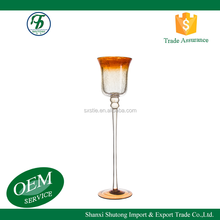 Romantic printing decal long stem glass candle holder for home bar party hotel decoration