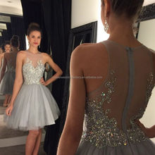 Sexy Ball Gown Prom Dresses For Graduation 2017 robe de soiree courte Crystal galajurken Homecoming Short Grey Party Gowns MC887