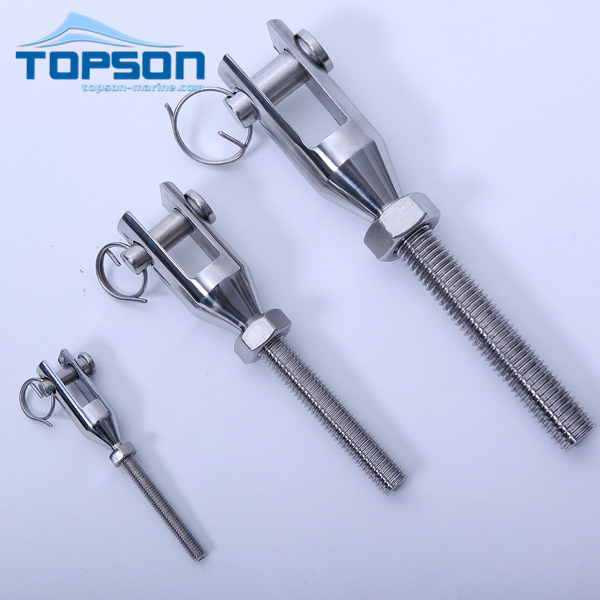 Stainless steel swage jaw terminal with thread rigging hardware