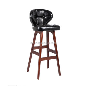 High back PU leather Cushioned bar stool chair with wooden legs