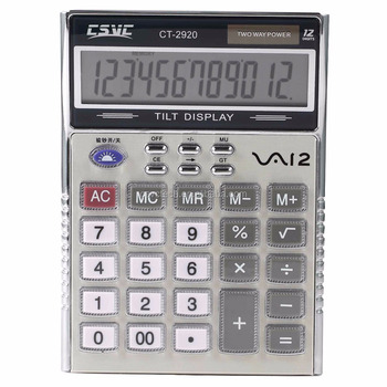 12 digits battery&solar two way power office/desktop calculator CT-2920