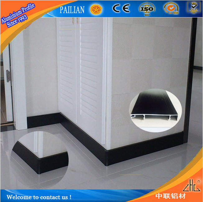 Zhonglian factory supply decorative brushed aluminum trim / OEM ceramic aluminum trim / aluminum wooden floor trim