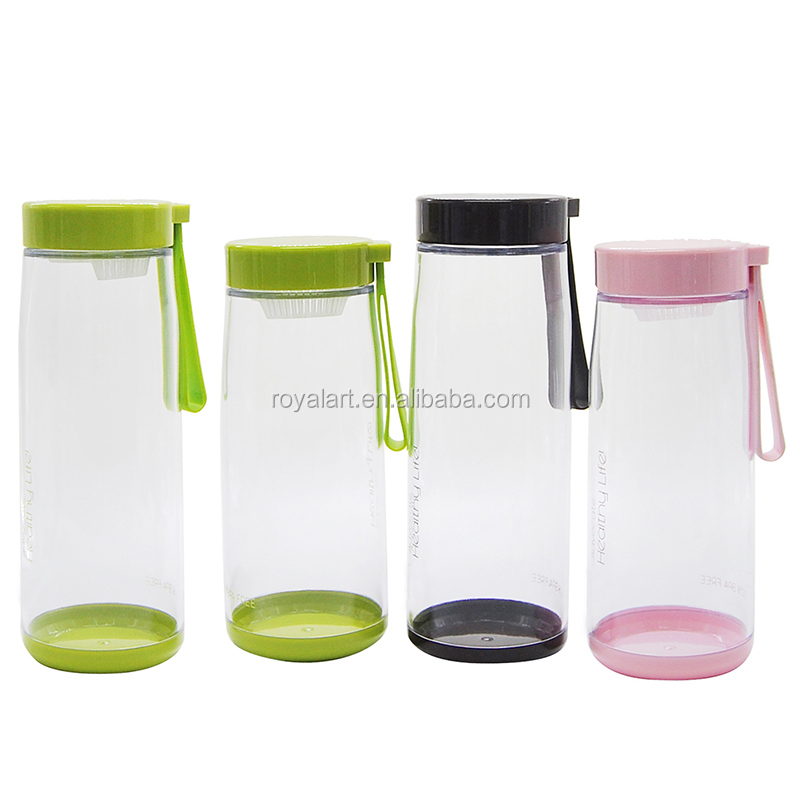 Simple style plastic AS water bottle pink green black color bottle Beauty cup for drinking water