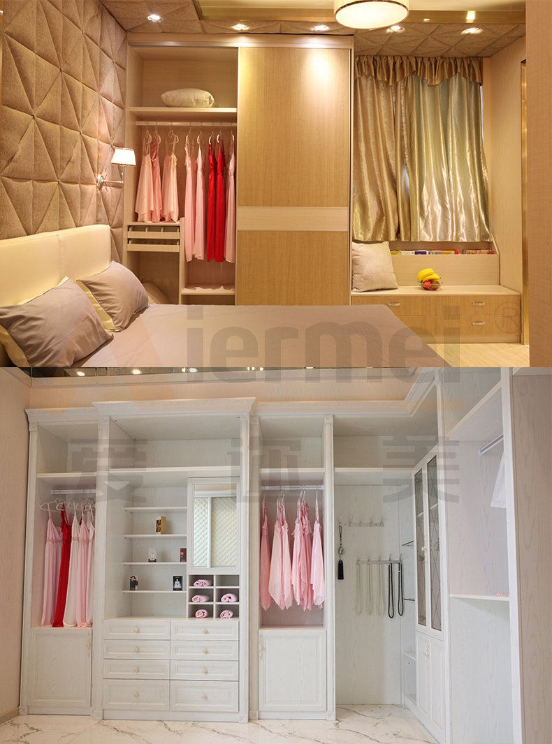 Teak Wood Indian Closet Design Sliding Mirror Wardrobe