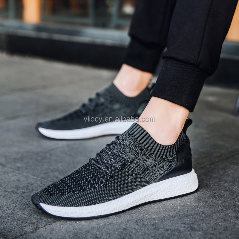 Wholesale new style flyknit sport running shoes for men Sneaker Breathable