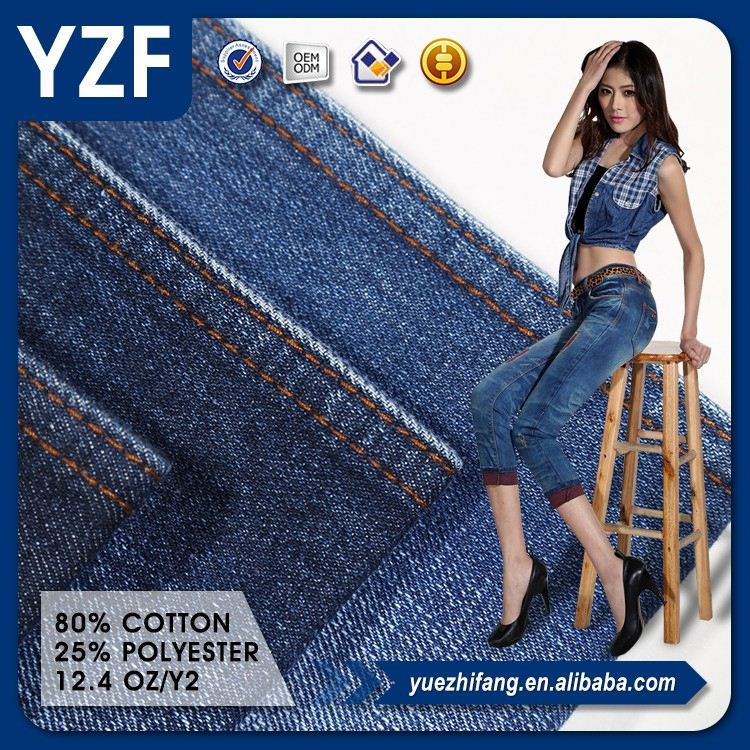 Hot sale woven dying twill weave jeans denim cotton polyester fabric