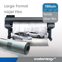 Favorable Price: 160um Self-Adhesive Inkjet Sandy Silver Polyester Film for Large Format Printing