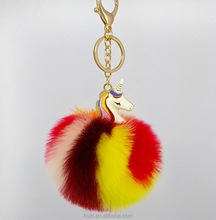 Promotional Colorful unicorn bag charms Pom Pom Fur ball Keychain A66