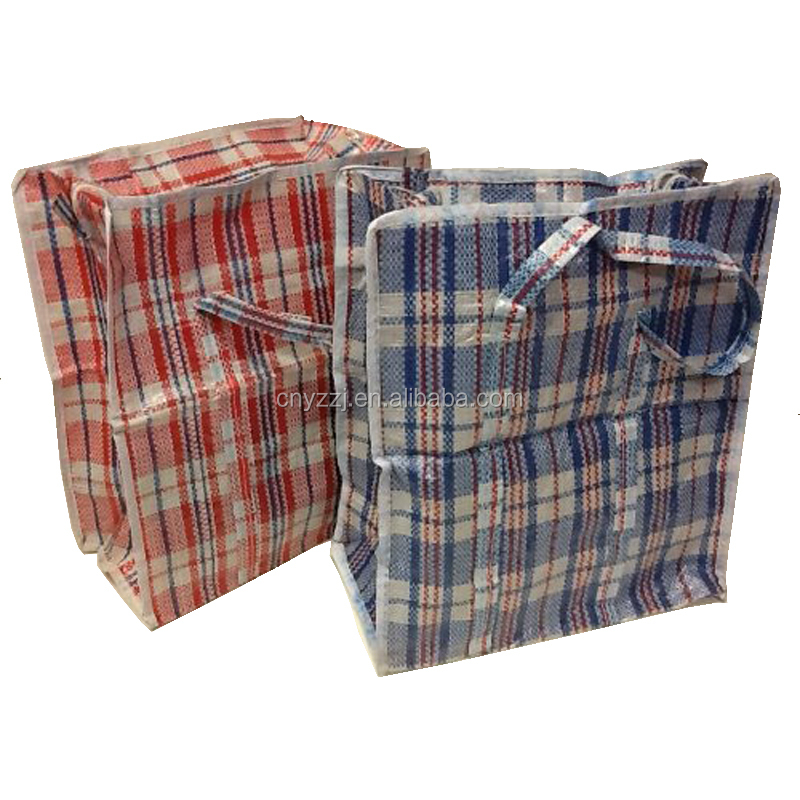 "Set of 4 Extra-Large Plastic Checkered Storage Laundry Shopping Bags W. Zipper & Handles Size 23""x23""x5"""