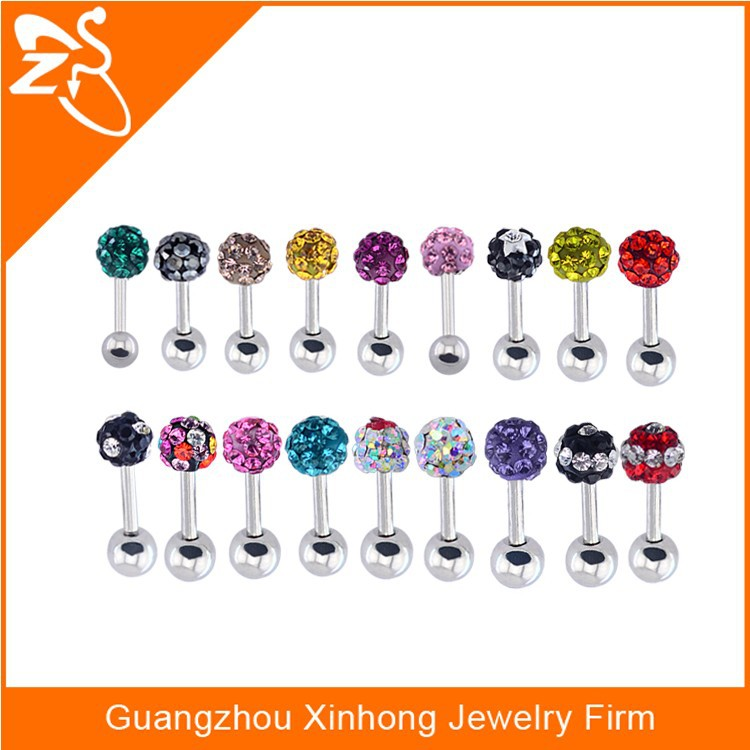Surgical steel different colours barbell studs ,crystal ear studs,ear studs piercing 16G