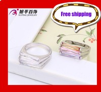Xuping Fashion Ring Rectangle Three colors High Quality New Design Rings With Stones Jewelry(13294)