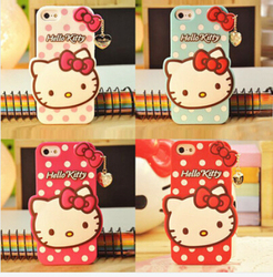 new arrival 3D cut hello kitty silicone case for iphone 6 6s,for iphone 6 6 plus 3D cut cartoon hello kitty silicone case