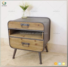 Wood and Metal Ironing Board Storage Bedside Cabinet