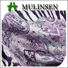 Mulinsen Textile Hot Selling Purple Printed Stretch Satin Nightdress Fabric Wholesale