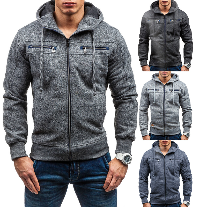 Factory directly low moq 2016 Men Fleece Hooded Thick Zipper Hoodies with wholesale price