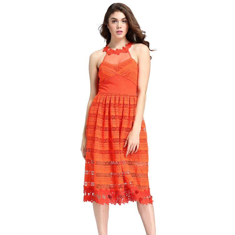 Halter Neck Designer One Piece Dress Midi Hollow Out Sweet Orange Sundress Sleeveless Transparent Mesh Sexy Party Lace Dresses