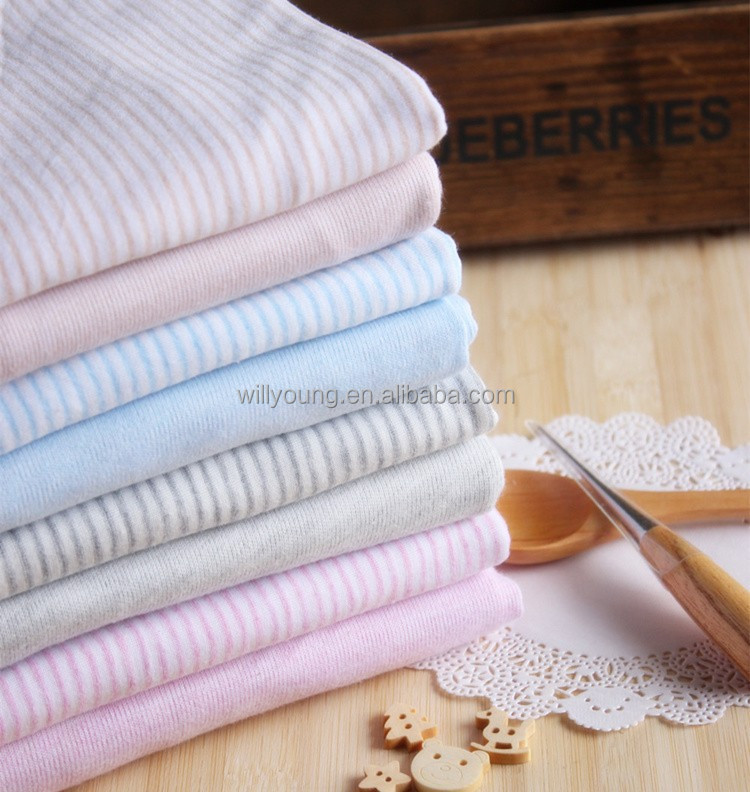 70% Bamboo 30% Cotton fiber bamboo fabric organic Antibacterial Stripe knitting jersey fabric for t-shirt jersey Bedclothes baby