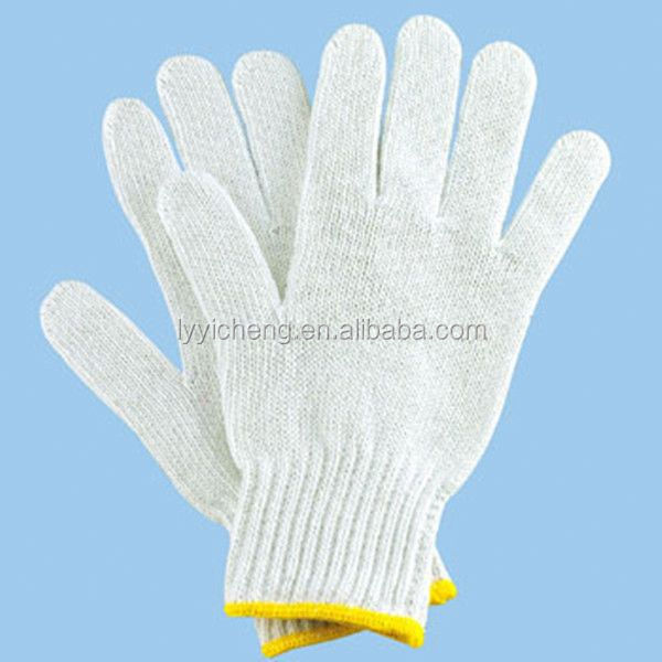7/10 gauge white knitted cotton gloves manufacturer in china/cycling or bicycle knitted cotton gloves