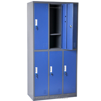 Modern and cheap office furniture blue 6 door storage cabinets metal locker