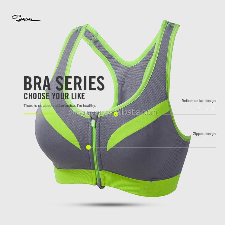 Women full zipper Front closure shockproof Breast Push up seamless Tanks sports bra yoga bra 6 colors