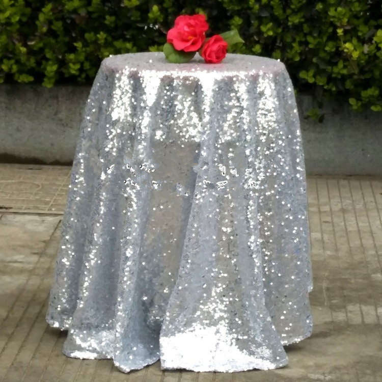 100% Polyester Wedding 120'' Round Silver Glitter Table Cloth