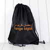Wholesale black printed polyester drawstring bag/backpack bag sports