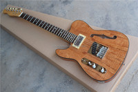 free shipping custom left handed guitar Natural F Hole Body Tele Electric Guitars
