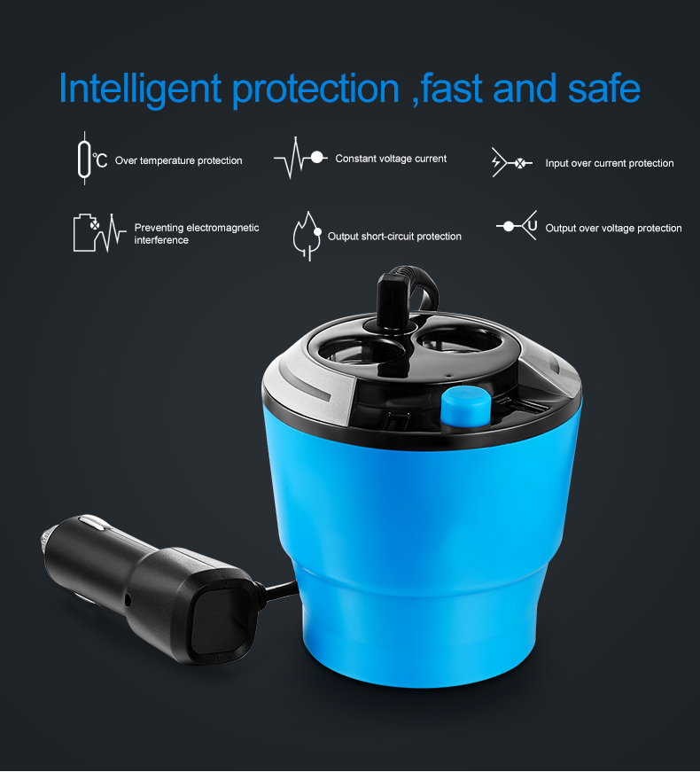 GXYKIT ZNB01 Dual USB Car Charger 5V 3.1A Cup Shaped with Cigarette Lighter