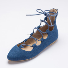 Fashion 2016 Spring Summer Women Ballerina Flats Denim Woman Pointed Shoes Flat Ankle Strap lady Ballet zipper on back