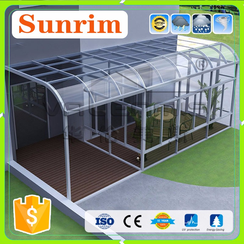 Curved Roof Style Glass sun roof for house