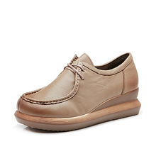 women genuine leather material flat casual Platform shoes