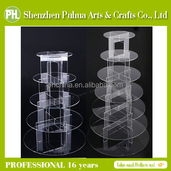 3/4/5/6/7/10 Tiers Clear Handmade Round Wedding Acrylic Cupcake Display Trays