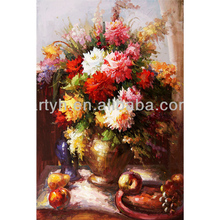 Handmade framed realistic flower oil painting
