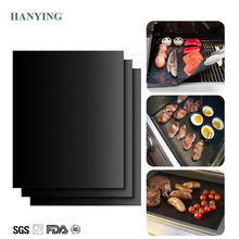Extra thick 0.2mm heat resistant teflon baking mat BBQ Grill Mat Reusable non-stick barbecue grilling sheet liner bbq mat
