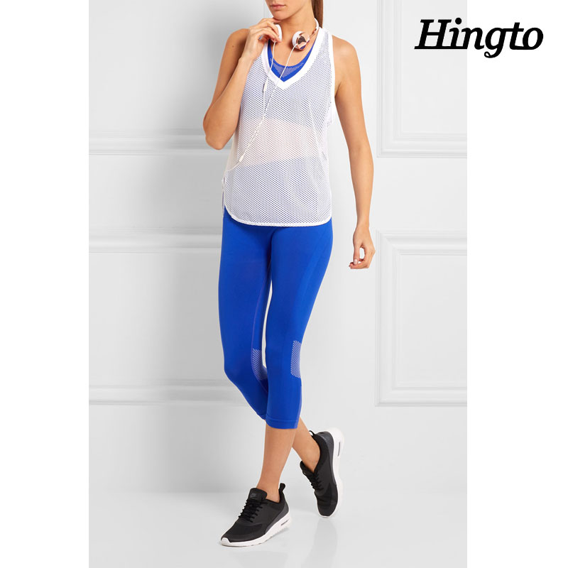 Fitted wicking hot sexy yoga clothes Blue yoga legging wear