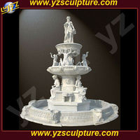 Large Outdoor garden 3 tier hand carved religious woman four seasons statue and angel Stone Fountain
